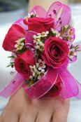 Hot Pink 5 Rose Wrist Corsage