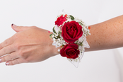 Red Roses With Baby Breath Wrist Corsage