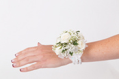 White Rose with Baby Breath  Wrist Corsage