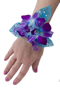 Orchid Blue Bomb Wrist Corsage