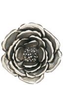 """39"""" Metal Silver Cabbage Rose"""