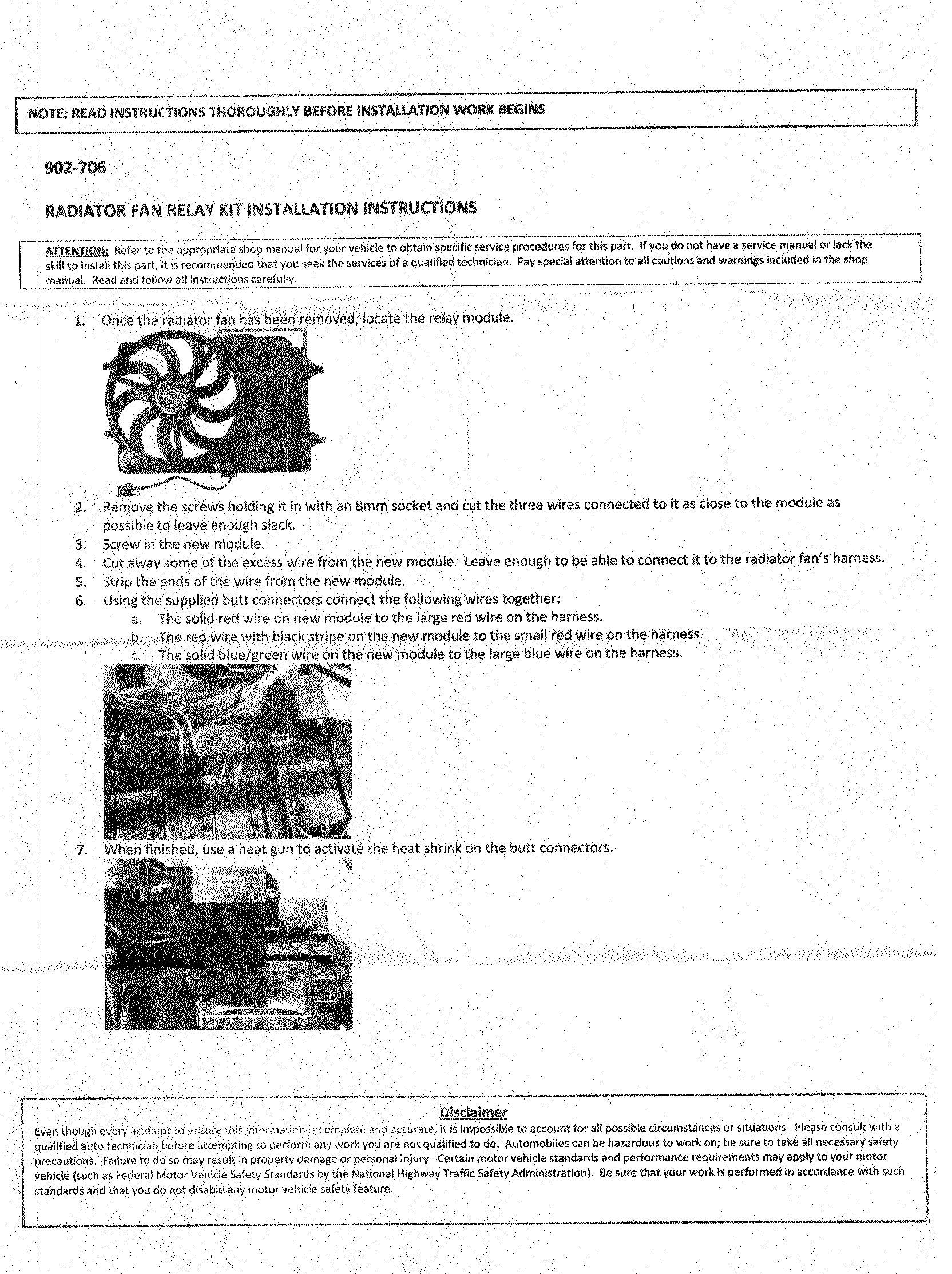 Radiator Fan Relay Kit Sante Blog Electric Diagram Furthermore Ls1 Cooling Wiring Scanned Instructions Zoom In For A Better Read Directions Note They Say That Dorman Supply S