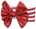 Elegant Metallic Red Ribbon Baby Girl's Headband for 0 - 12 Months