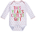 This Year's Cutest Gift  Baby Girl Long Sleeve Holiday One Piece (0 - 6 Months)