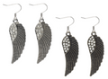 Antique Look  Angel Wings Earrings with Crystals - Choose Light Silver or Antiqued  Gold