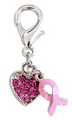Pink Ribbon Charm for Zipper Pull, Purse Charm, Charm Bracelet, Dog Collar