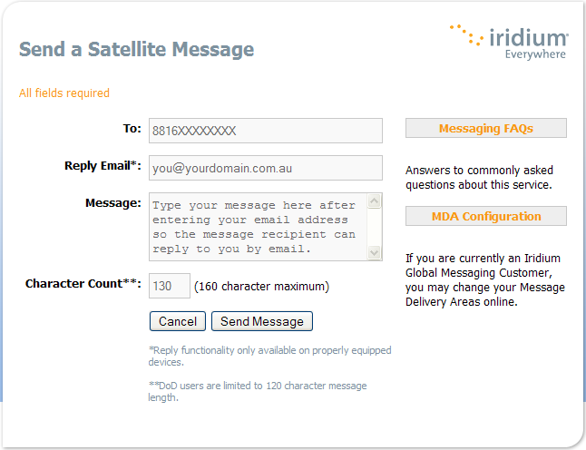 Free SMS to Iridium