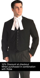 When purchased in combination with a Barrister's Robe receive a 10% discount.  Use coupon code: 10%OffPkg at checkout to receive 10% off your Waistcoat and Robe purchase.