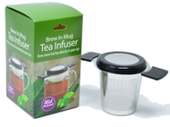 Brew-In-Mug Tea Infuser & Lid Treat your senses  with the full flavor of our Aviva Wild Harvest large leaf Yerba Mate or one of our Yerba Mate blends made from dried fruit and spices, thanksto this sturdy single-cup infuser that rests securely on your favorite mug. Includes infuser and lid 5'' H x 3'' diameter Stainless steel / silicone Dishwasher-safe
