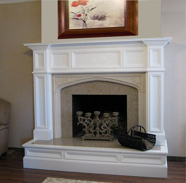 Our Oxford Mantel, Hampton Court Limestone Surround and one of our granite surround facing kits were combined for this customer along with the special custom wood raised hearth wrap.  Call for details and pricing!