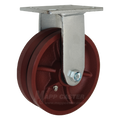 "6"" x 2"" V-Groove Ductile Steel Wheel Rigid Caster - 1500 lbs Capacity"