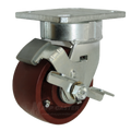"4"" x 2"" Ductile Steel Swivel Caster  with Brake -1500 lbs Capacity"