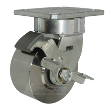 """4"""" x 2"""" Forged Steel Swivel Caster with Brake -1500 lbs Capacity"""