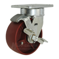 "5"" x 2"" Ductile Steel Kingpinless Swivel Caster with Brake - 1500 lbs Capacity (P5105201121-B)"