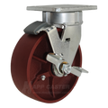 "6"" x 2"" Ductile Steel Wheel Kingpinless Swivel Caster with Brake - 1500 lbs Capacity"