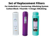 Set of three replacement filters for UnderSink or Countertop Alkalzing, Ionizing, and Infrared Cold Drinking water systems.