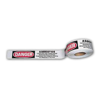 "White Asbestos Barricade Tape w/Warning 3""x1000'"