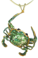 """""""Pinch"""" the Crab pendant in Sterling Silver w/enameling"""