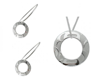 Two silver pewter ring earrings, and a pendant on a sterling silver chain, etched with a West Coast First Nations abstract design.