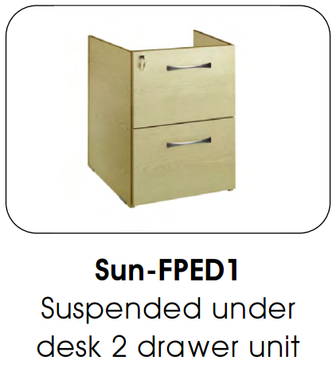 Buy Fixed Under Desk Pedestal, 2 Drawer (SUN-FPED1) sold by eSuppliesMedical.co.uk