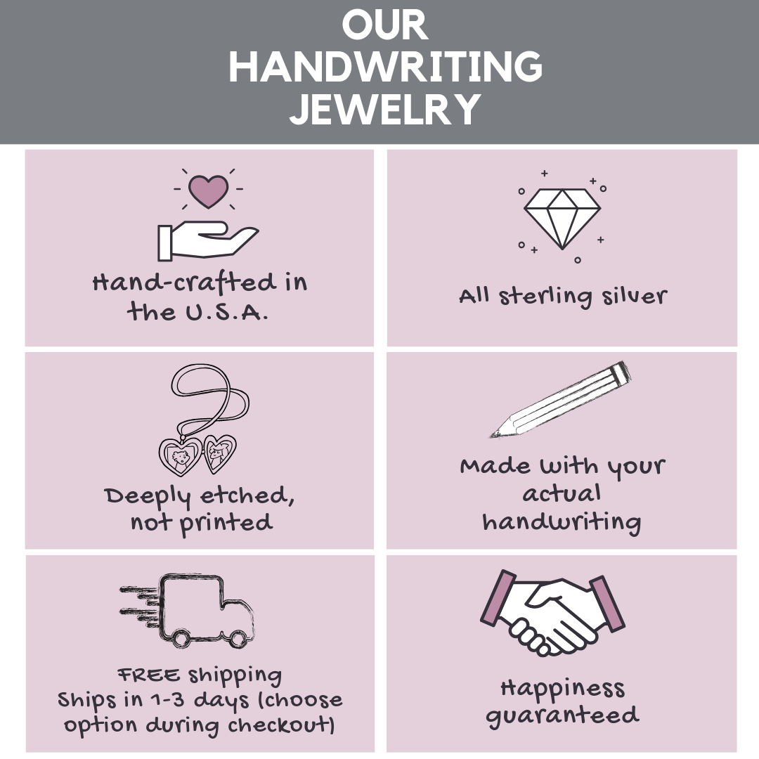 Handwriting jewelry info