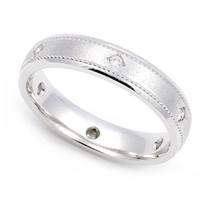 Bezel set Diamond Semi Eternity Milgrain Ring 4mm (1/10 ct.)