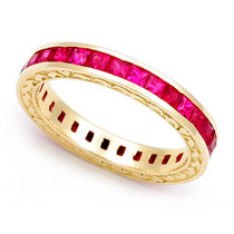 Channel set Ruby Heart Edge Eternity Ring