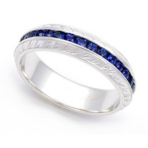 Channel set Blue Sapphire Carved Eternity Ring