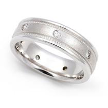 Bezel set Diamond Semi Eternity Milgrain Ring (1/3 ct.)