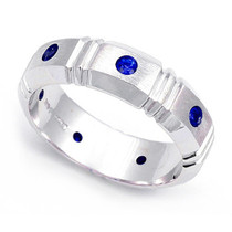 Bezel set Blue Sapphire Semi Eternity Segmented Ring