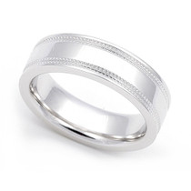 Dual Milgrain Flat Wedding Ring 5.5mm