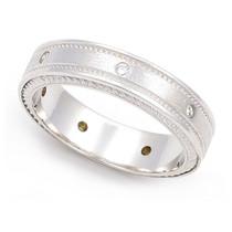 Bezel set Diamond Semi Eternity Cord Design Milgrain Ring (1/7 ct.)