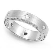 Bezel set Diamond Semi Eternity Cord Design Ring (1/7 ct.)