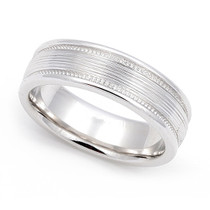 Line finish Milgrain Wedding Ring 6mm