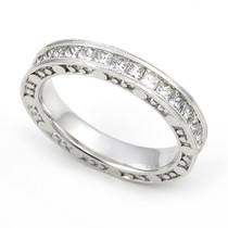 Channel set Diamond Eternity Bubble Edge Milgrain Ring (1 3/5 ct.)