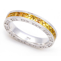 Channel set Yellow Sapphire Bubbles Edge Eternity Ring