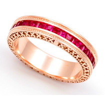 Channel set Ruby Eternity Cross Design Milgrain Ring