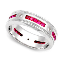 Diamond and Ruby Milgrain Eternity Ring