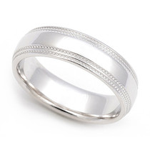Dual Milgrain Wedding Ring 5.5mm
