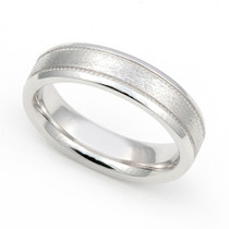 Satin Finish Milgrain Wedding Ring 5mm