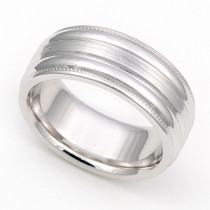 Ridged Line Finish Wedding Ring 8mm