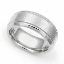 Line finish Milgrain Wedding Ring 8mm