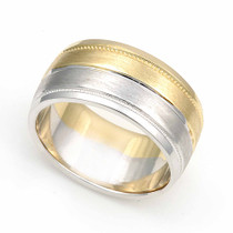 Two Tone Milgrain Wedding Ring 9mm
