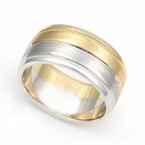 Two Tone Milgrain Wedding Ring 9mm