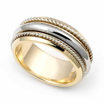 Two Tone Braided Wedding Ring 8mm