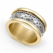 Two Tone Braided Wedding Ring 9.5mm