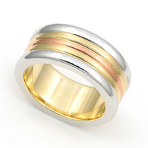 Three Tone Wedding Ring 8.5mm