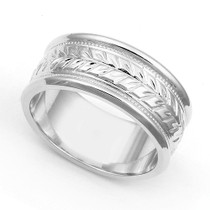 Arrow Design Milgrain Wedding Ring 9mm