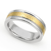 Two Tone Milgrain Wedding Ring 6mm
