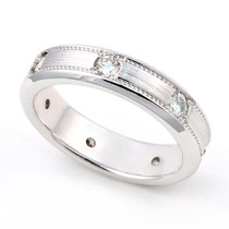 Pave' set Diamond Semi Eternity Milgrain Ring (3/5 ct.)